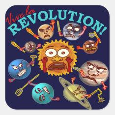 Funny Planet Revolution Solar System Cartoon Square Sticker at Zazzle