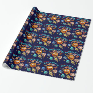 Funny Planet Revolution Solar System Cartoon Wrapping Paper