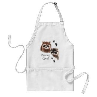 Funny, Planting Corn? Garden Cute  Raccoons Adult Apron