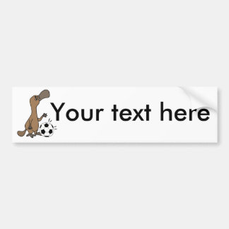 Funny Platypus Playing Soccer or Football Art Bumper Sticker