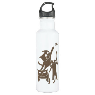 Funny Playful Cats Water Bottle