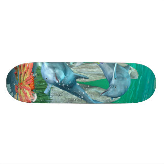 Funny playing dolphins with other fish skate board decks