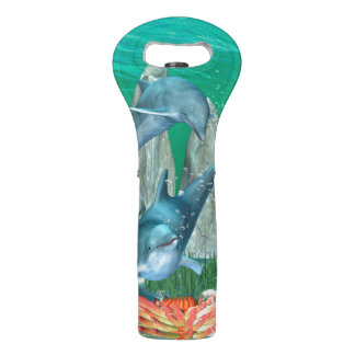 Funny playing dolphins with other fish wine bag