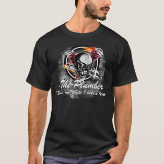 Funny Plumber Skull with Flaming Tools T-Shirt