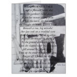 Funny poem and still life garden tools art large greeting card
