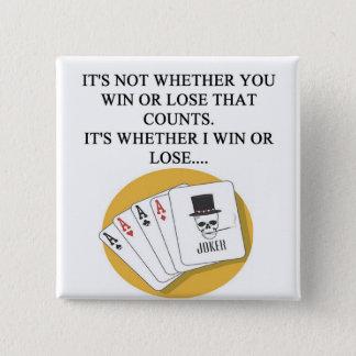 funny poker bridge card player design pinback button