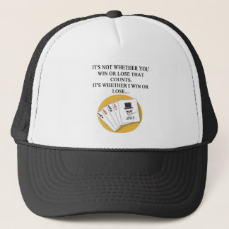 funny poker bridge card player design trucker hat