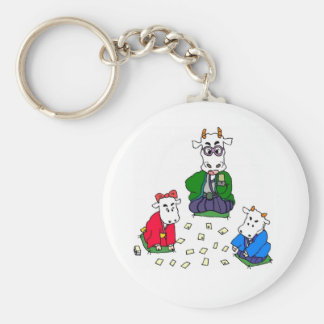 Funny Poker Cow Games Keychains