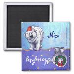 Funny Polar Bear Naughty Nice Holiday Magnet