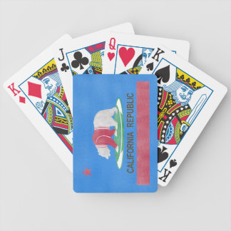 Funny Polar Bear On The Flag Of California Bicycle Playing Cards