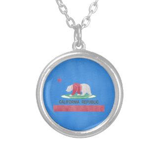 Funny Polar Bear On The Flag Of California Round Pendant Necklace