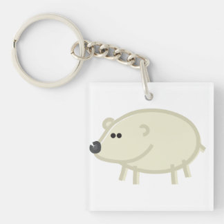 Funny Polar Bear on White Keychain