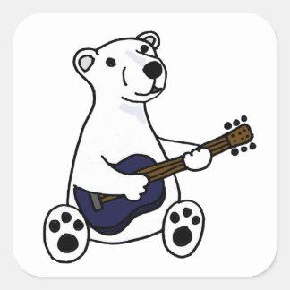 Funny Polar Bear Playing Guitar Square Sticker