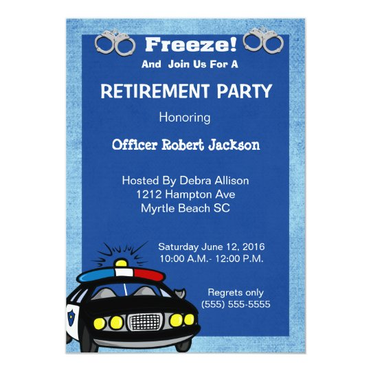 Funny Police Officer Retirement Invitation  Zazzle