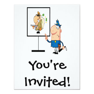 funny police officer showing ganster suspect 4.25x5.5 paper invitation card