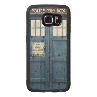 Funny Police phone Public Call Box Wood Phone Case