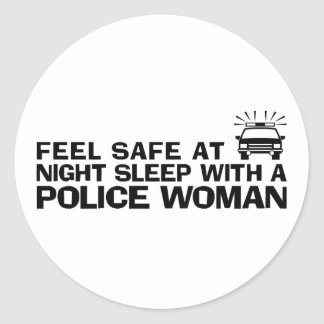Funny Police Woman Classic Round Sticker
