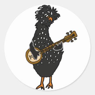 Funny Polish Chicken Playing Banjo Art Classic Round Sticker