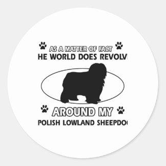 Funny POLISH LOWLAND SHEEPDOG designs Classic Round Sticker