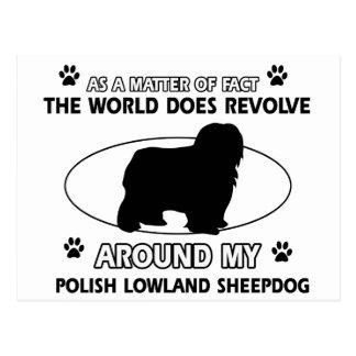Funny POLISH LOWLAND SHEEPDOG designs Postcard