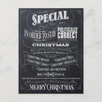 Funny Politically Correct Chalk Christmas Card - I