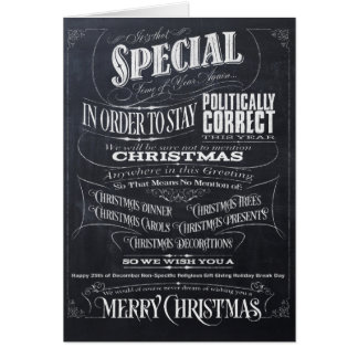 Funny Politically Correct Chalk Christmas Card -We