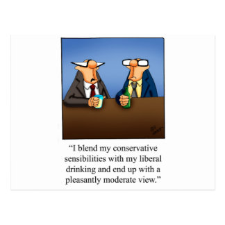 Funny Politics and Drinking Cartoon Gift Post Cards