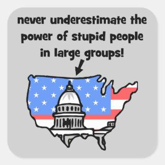 funny politics square sticker
