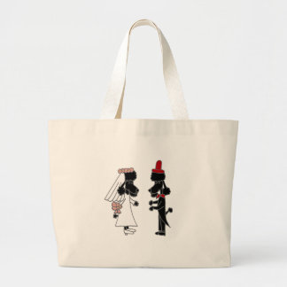 Funny Poodle Bride and Groom Wedding Jumbo Tote Bag
