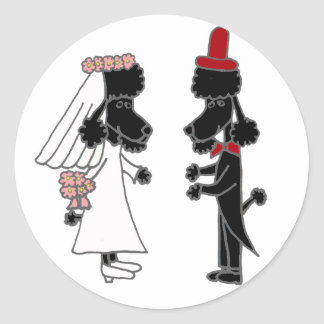 Funny Poodle Bride and Groom Wedding Classic Round Sticker