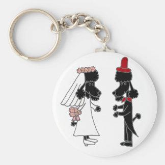 Funny Poodle Bride and Groom Wedding Keychain