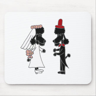 Funny Poodle Bride and Groom Wedding Mouse Pad