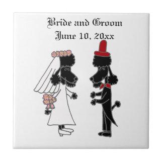 Funny Poodle Bride and Groom Wedding Ceramic Tiles
