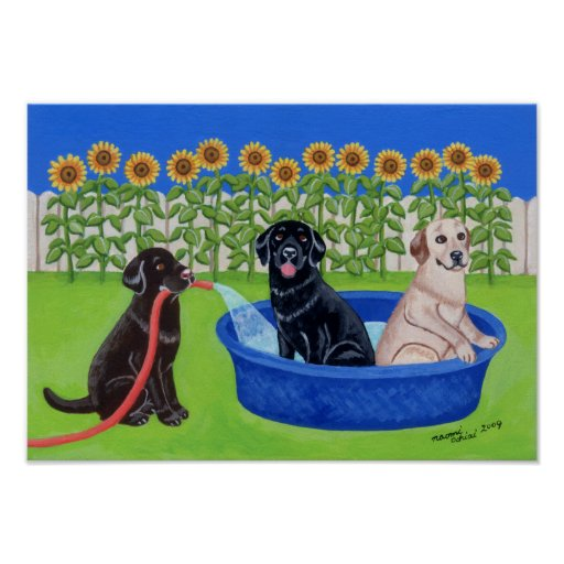 Funny Pool Party Labradors Artwork Poster