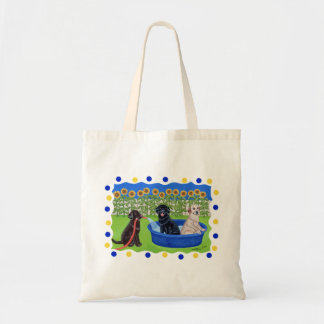 Funny Pool Party Labradors Canvas Bag