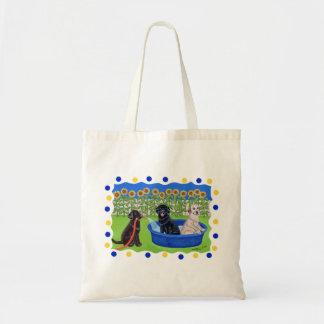 Funny Pool Party Labradors Canvas Bag