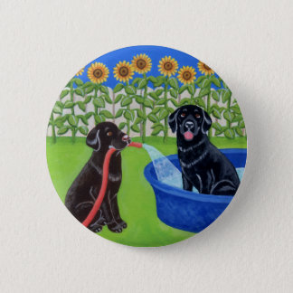 Funny Pool Party Labradors Button