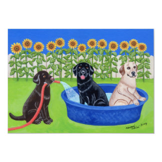 Funny Pool Party Labradors Card