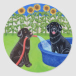 Funny Pool Party Labradors Classic Round Sticker