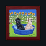 """Funny Pool Party Labradors Jewelry Box<br><div class=""""desc"""">Whimsy and funny Labrador Retriever Pool Party Painting design created by Naomi Ochiai from Japan. Nice dog gifts for Labrador lover&#39;s home. Great fun gifts for yourself, too. Black Labrador, Chocolate Labrador, Yellow Labrador are all painted in the picture. Happy Labrador Retriever dogs enjoy having fun with their kid pool...</div>"""