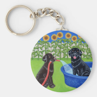 Funny Pool Party Labradors Basic Round Button Keychain