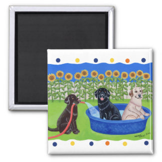 Funny Pool Party Labradors Magnet