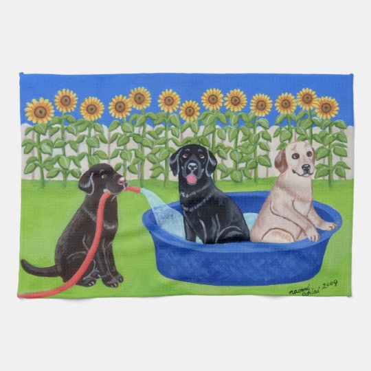 Funny Pool Party Labradors Painting Hand Towel