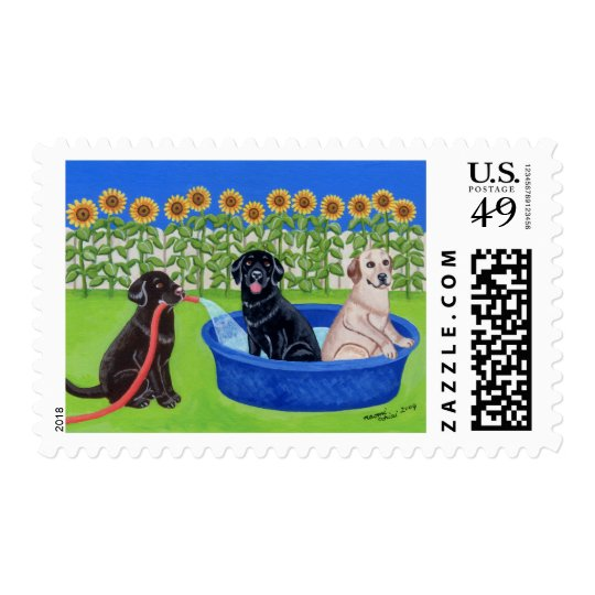 Funny Pool Party Labradors Postage