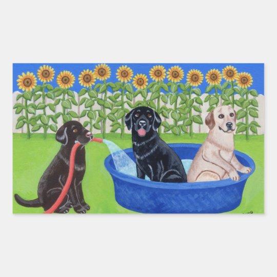 Funny Pool Party Labradors Rectangular Sticker