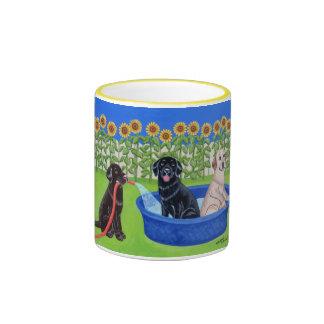 Funny Pool Party Labradors Ringer Coffee Mug