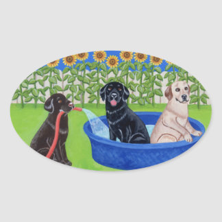 Funny Pool Party Labradors Sticker