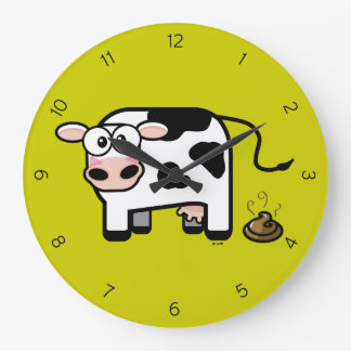 Funny Pooping Cartoon Cow Large Clock
