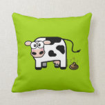 Funny Pooping Cow Throw Pillow