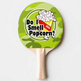 Funny Popcorn; bright green camo, camouflage Ping-Pong Paddle